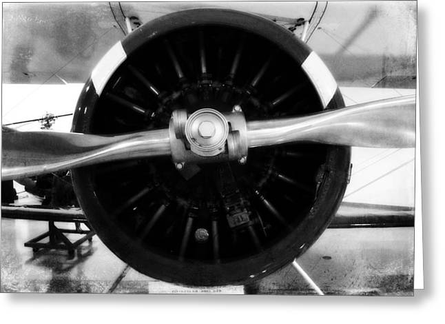 Airplane Propeller Greeting Cards - Biplane Propeller Greeting Card by Matt Hanson
