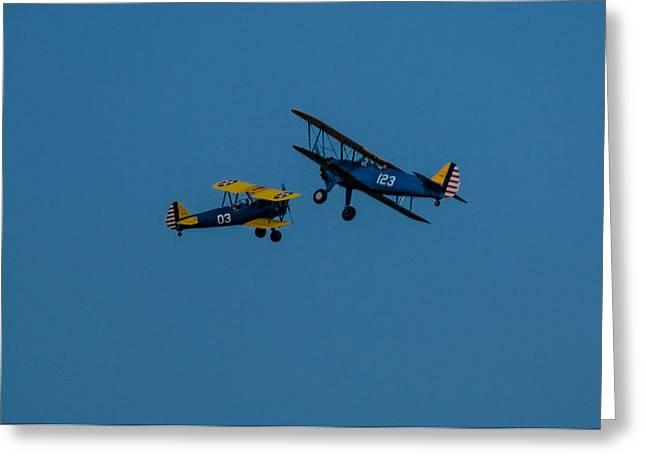 Biplanes Near Collision 5x7 Greeting Card
