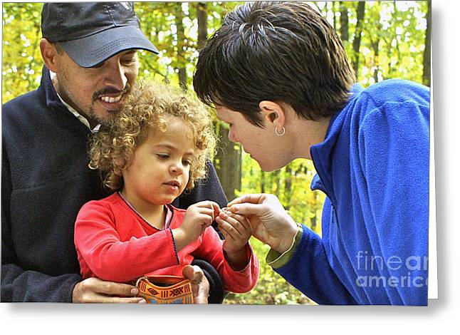 Biracial Family In Pa State Park Greeting Card by Blair Seitz