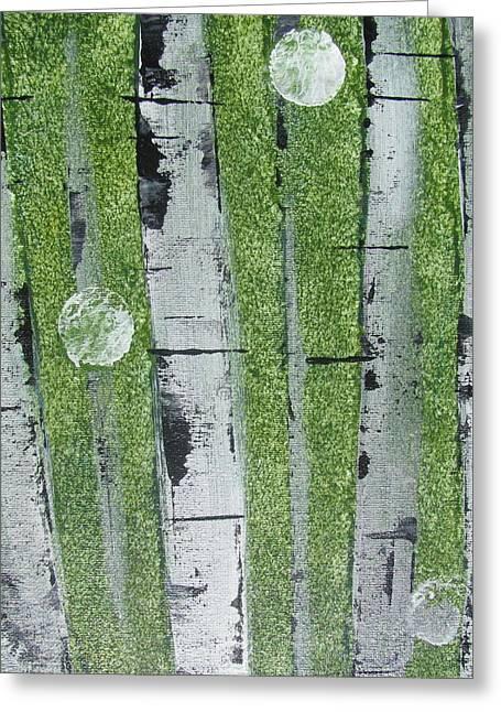 Birch - Green 1 Greeting Card by Jacqueline Athmann