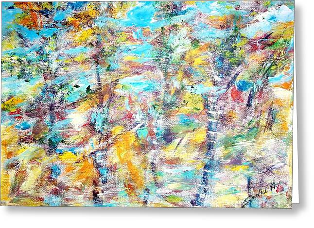 Birch Abstract  Greeting Card by Mary Sedici