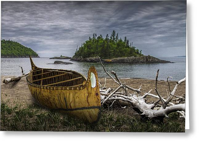Birch Bark Canoe On Driftwood Beach By Wawa  Greeting Card by Randall Nyhof
