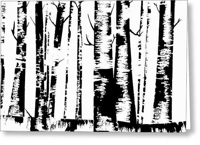 Birch Forest Black Greeting Card