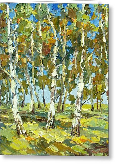 Birch Forest Greeting Card by Dmitry Spiros