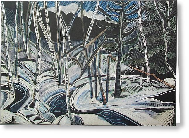 Birch Forest, Winter Greeting Card by Grace Keown