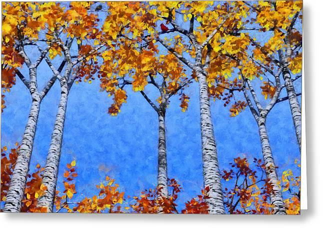 Birch Grove Painted Greeting Card by Cynthia Decker