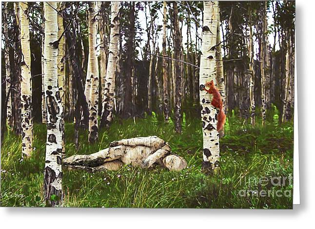 Birch Having A Tree Break Greeting Card
