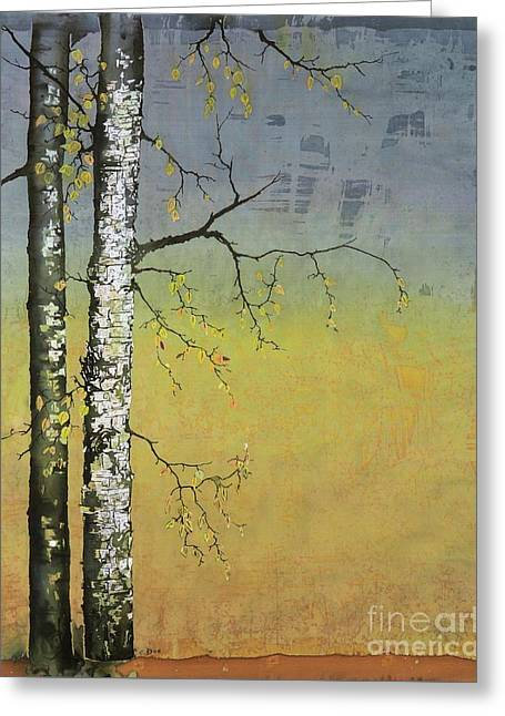 Birch In A Golden Field Greeting Card by Carolyn Doe
