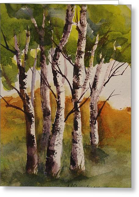 Greeting Card featuring the painting Birch by Marilyn Jacobson