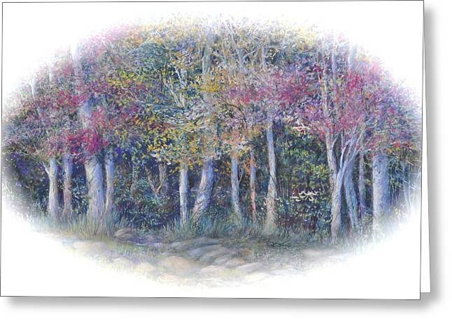 Birch Tree Pastels Greeting Cards - Birch Tree Gathering Greeting Card by Penny Neimiller