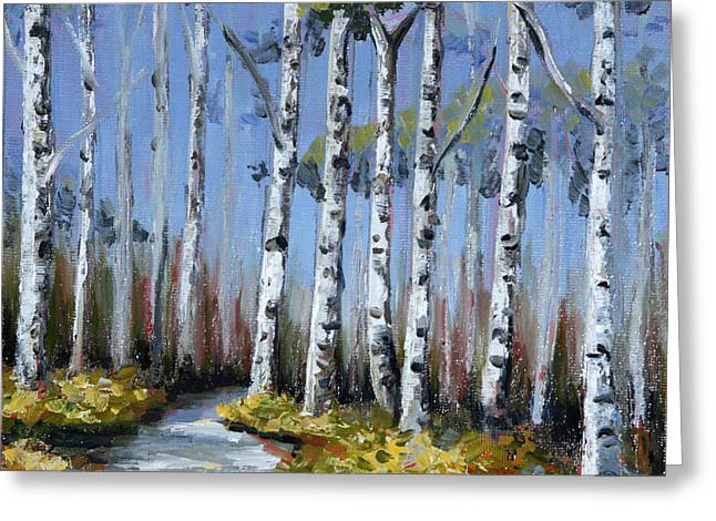 Birch Tree Path Greeting Card