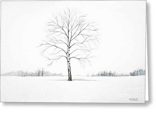Birch Tree Upon The Winter Plain Greeting Card