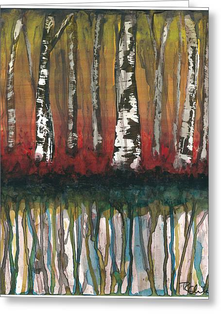 Birch Trees #2 Greeting Card by Rebecca Childs