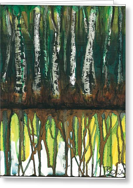 Birch Trees #3 Greeting Card by Rebecca Childs