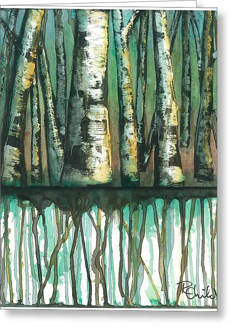 Birch Trees #5 Greeting Card by Rebecca Childs