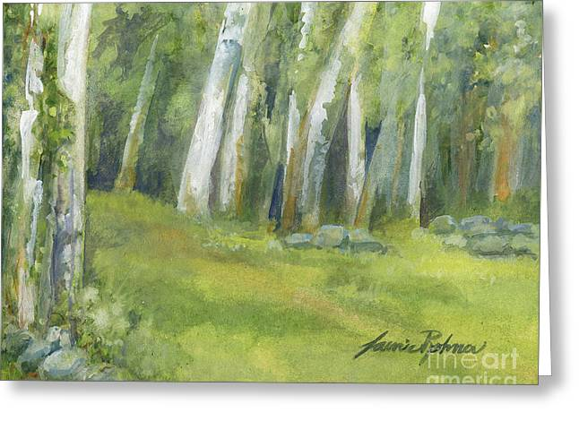 Birch Trees And Spring Field Greeting Card