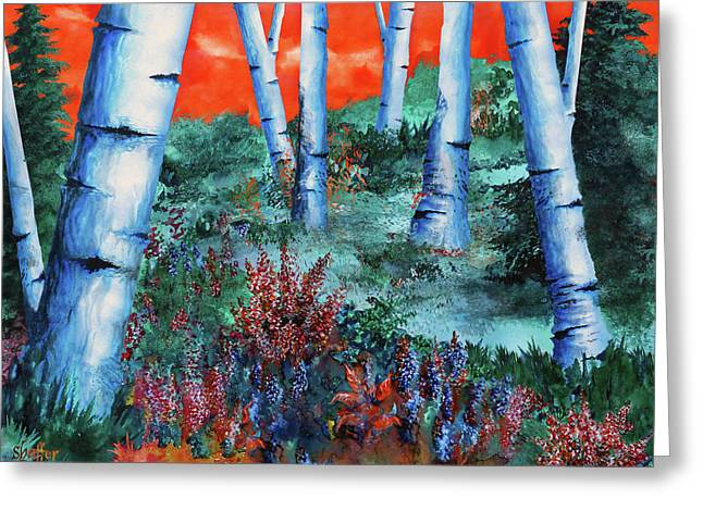 Birch Trees At Sunset Greeting Card by Curtiss Shaffer