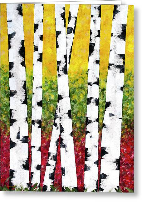Birch Forest Trees Greeting Card