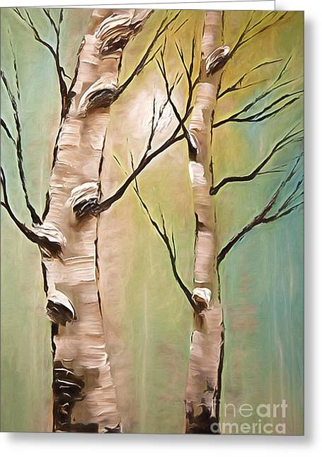 Birch Trees Color Pencil  Greeting Card by Heinz G Mielke