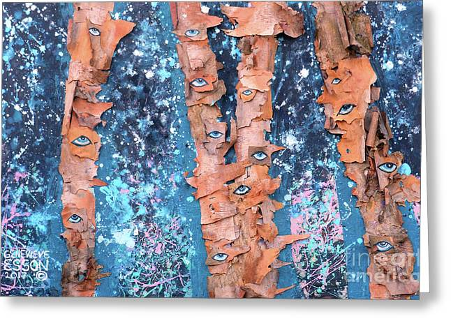 Birch Trees With Eyes Greeting Card by Genevieve Esson