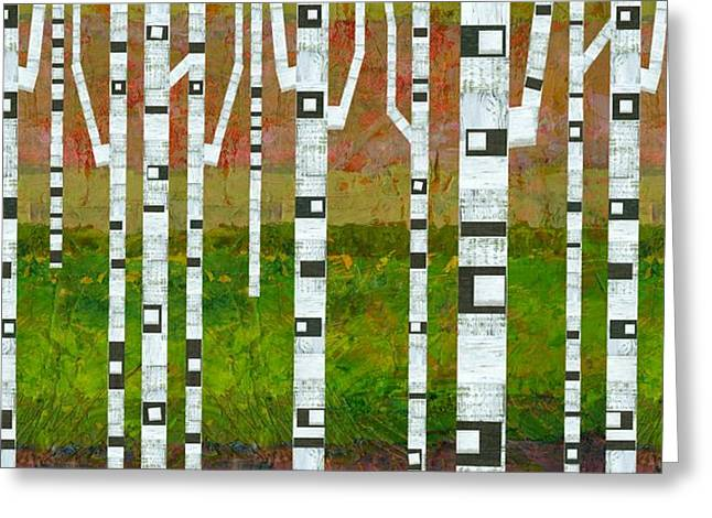 Birch Trees With Green Grass Greeting Card