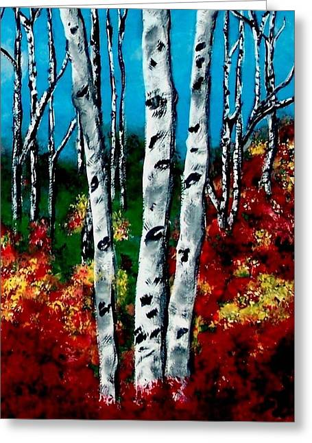 Greeting Card featuring the painting Birch Woods 2 by Sonya Nancy Capling-Bacle