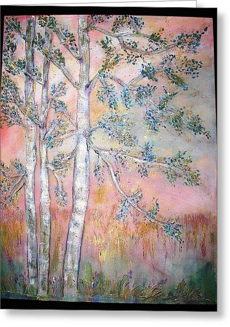 Birch Woods Sold Greeting Card by Laurie Alpert
