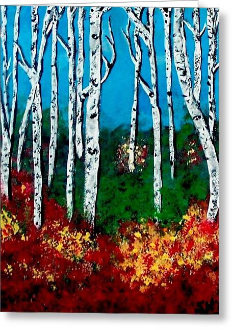 Greeting Card featuring the painting Birch Woods by Sonya Nancy Capling-Bacle