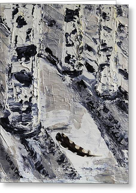 Birches And Snowy Shadows Greeting Card by Valerie Ornstein