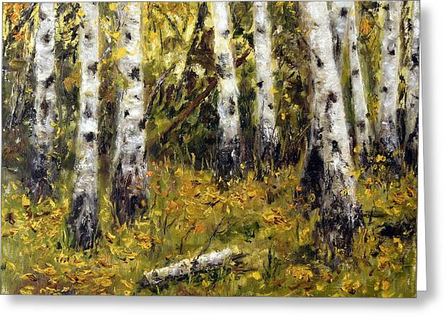 Greeting Card featuring the painting Birches by Arturas Slapsys