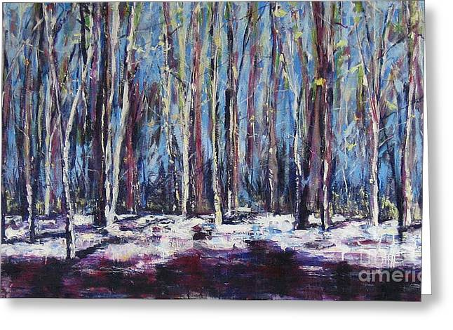 Greeting Card featuring the painting Birches by Debora Cardaci