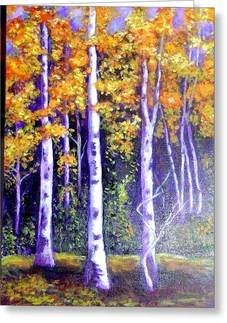 Birches In Canadian Fall Greeting Card