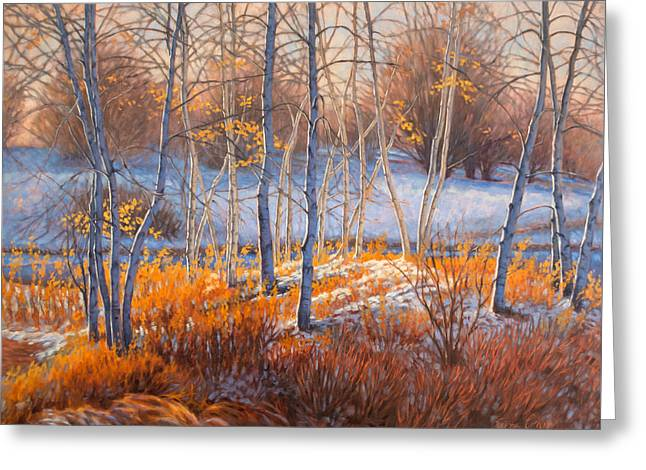 Birches In First Snow 2 Greeting Card