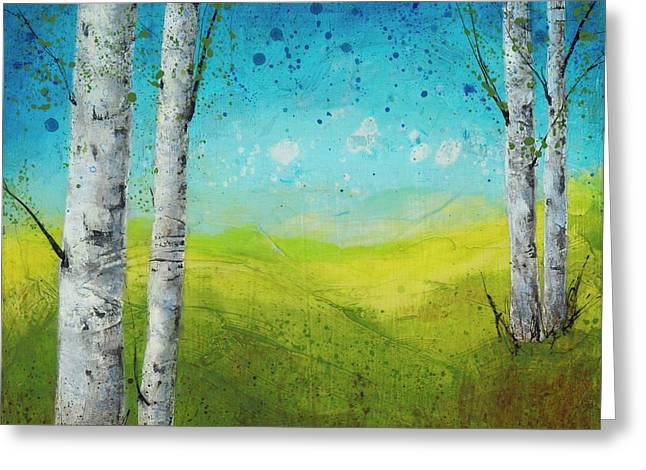 Birches In Green Greeting Card