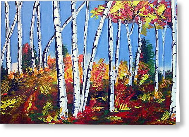 Birches Greeting Card by Paul Sandilands