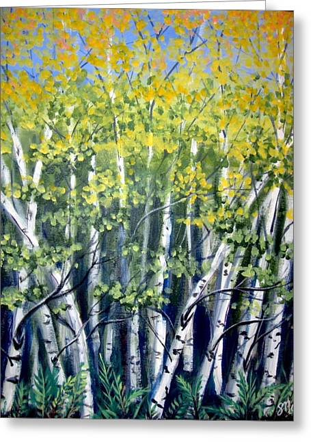 Birches Greeting Card by Sharon Marcella Marston