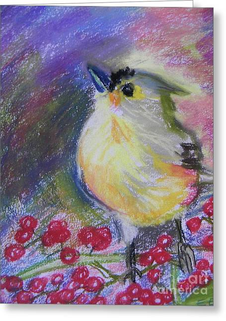 Berry Pastels Greeting Cards - Bird and Berries Greeting Card by Emily Michaud