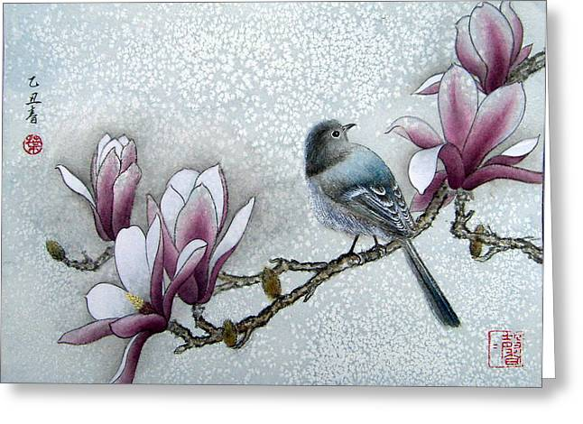 Bird And  Magnolia  Greeting Card by Leaf Moore
