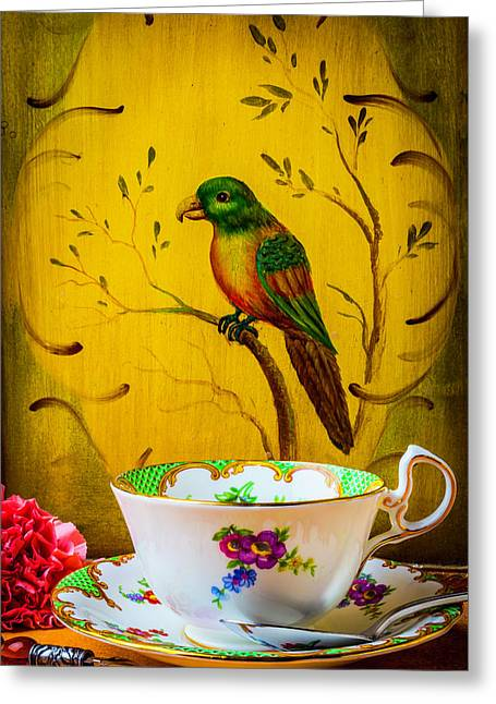 Bird And Tea Cup Greeting Card by Garry Gay
