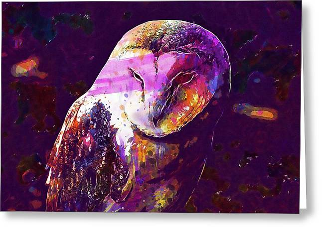 Greeting Card featuring the digital art Bird Barn Owl Owl Barn Animal  by PixBreak Art
