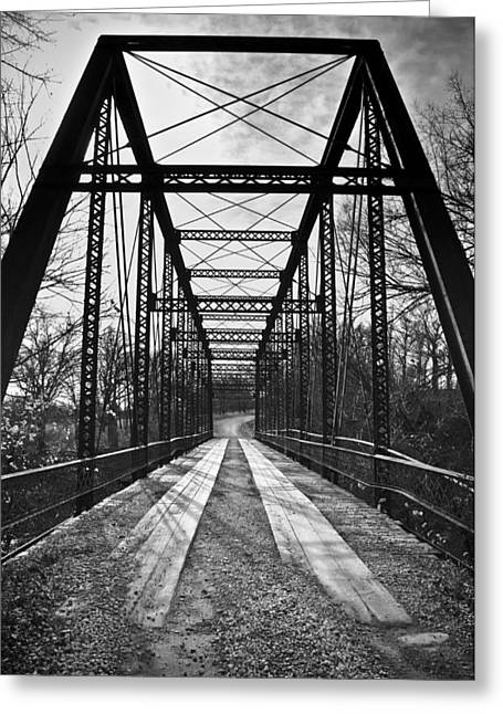 Bird Bridge Black And White Greeting Card