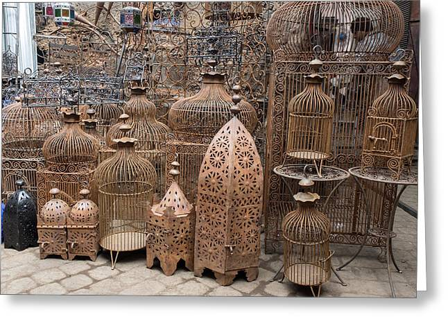 Bird Cages For Sale In Souk, Marrakesh Greeting Card by Panoramic Images
