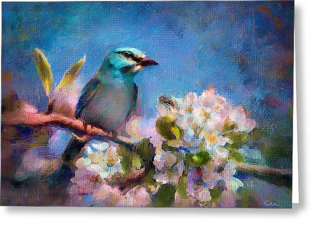 Bird Blue Greeting Card
