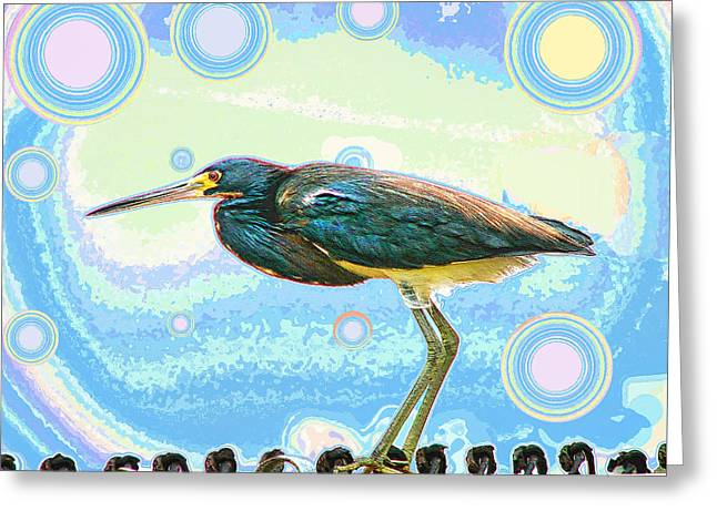Greeting Card featuring the digital art Bird Contemplates The Cosmos by Wendy J St Christopher