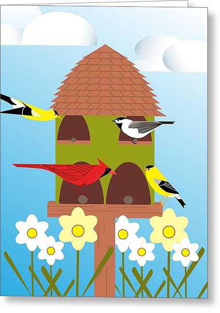 Bird Feeder Greeting Card
