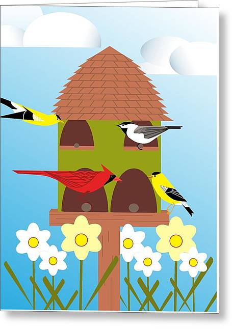 Bird Feeder Greeting Card