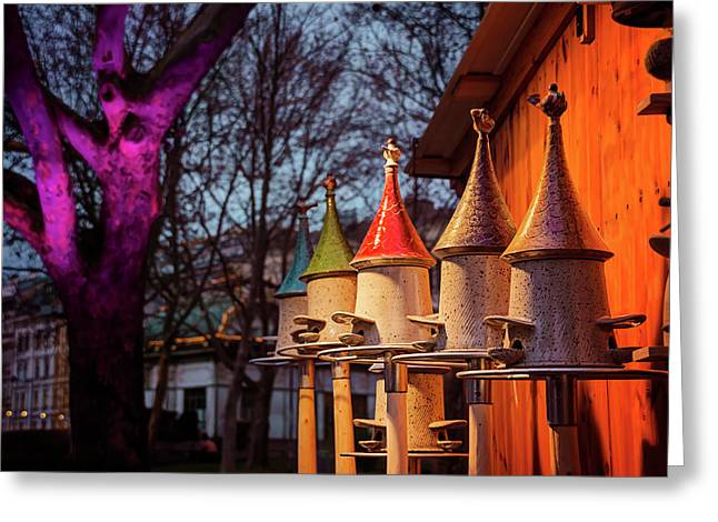 Bird Feeders At Karlsplatz Christmas Market Vienna  Greeting Card