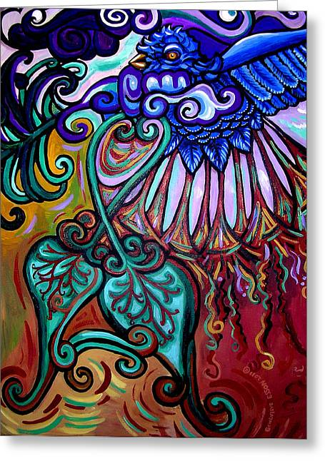 Acrylic On Stretched Canvas Greeting Cards - Bird Heart III Greeting Card by Genevieve Esson