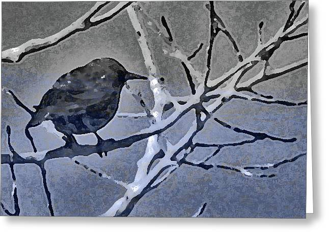 Bird In Digital Blue Greeting Card