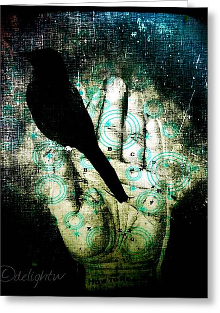 Greeting Card featuring the digital art Bird In Hand by Delight Worthyn